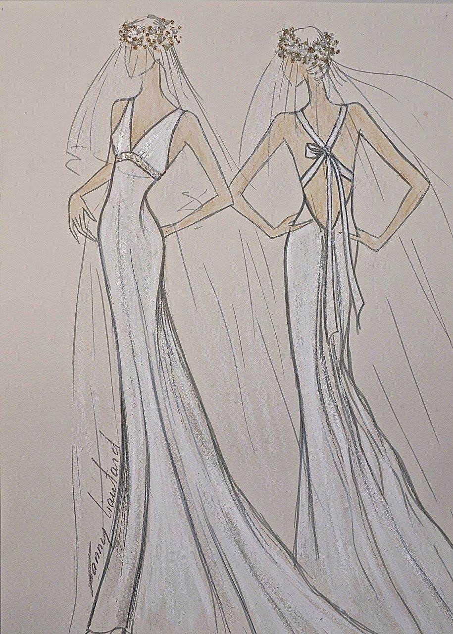 5871de4c63f963 Dessin de robe de mariée Riviera avec dos nu et décolleté V Robe ...
