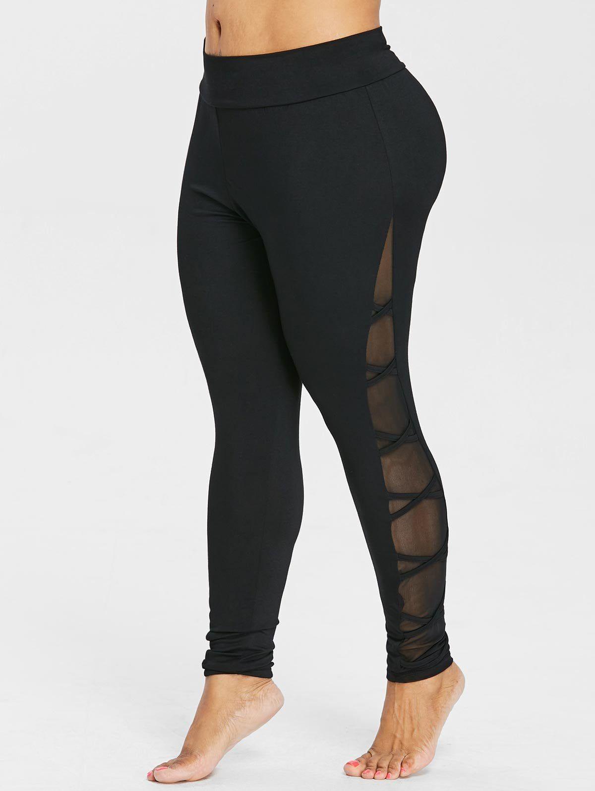 Plus Size Criss Cross Sheer Side Leggings Wide Waistband