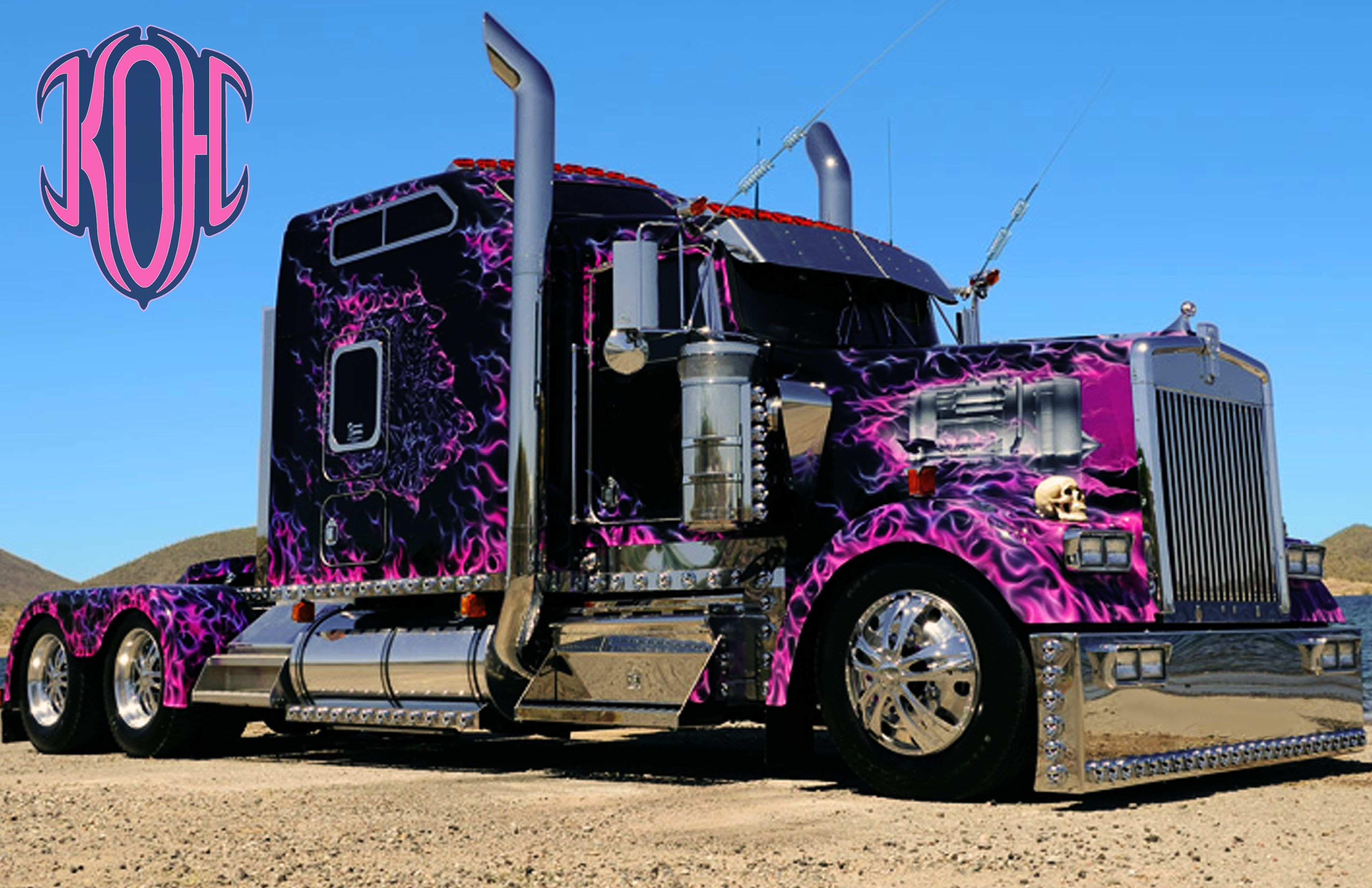 Custom Pink Kenworth T800 With Images Big Trucks Custom Big