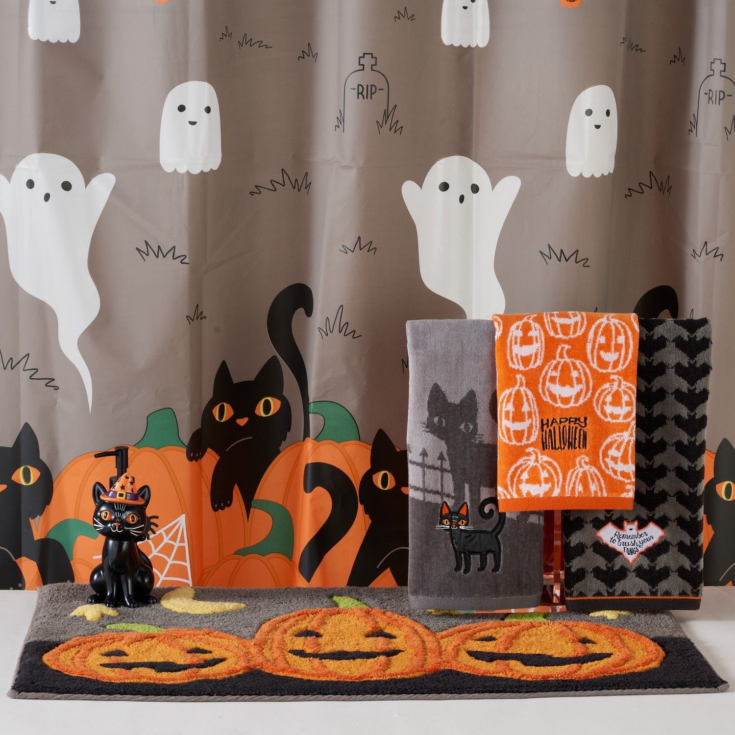 Celebrate Together Spooky Scenic Shower Curtain Collection With