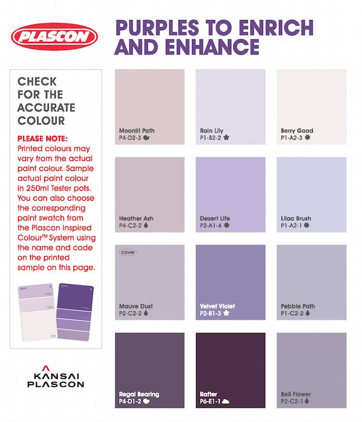 Plascon Colour Harmonies Purples Inspiration Brochure Purple Paint Colors Plascon Paint Colours Color Harmony