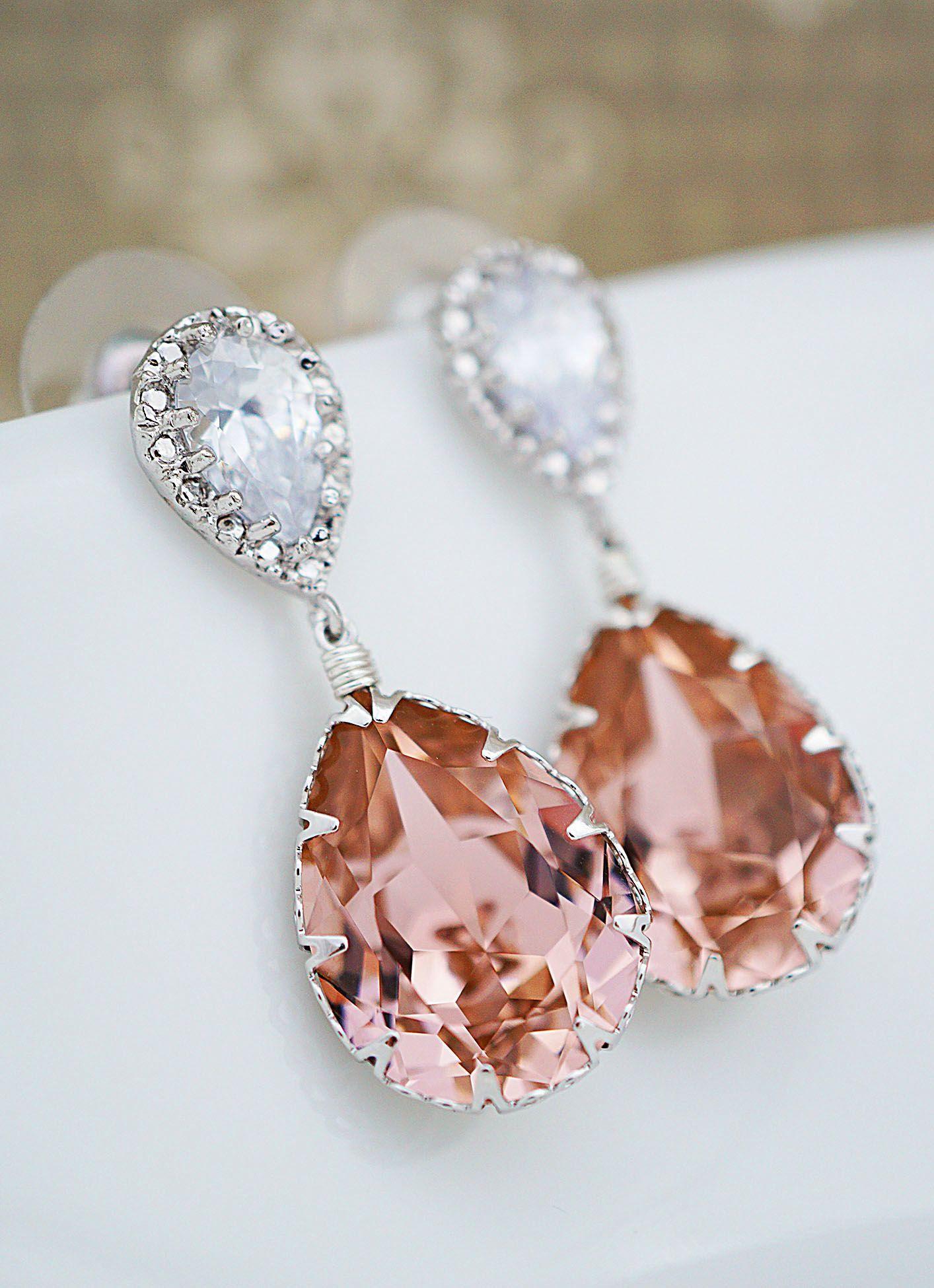 9267eae95 Handmade Vintage rose Swarovski Crystal Earrings from EarringsNation  Bridesmaid Earrings Peach Earrings Peach Weddings Bridal Earrings