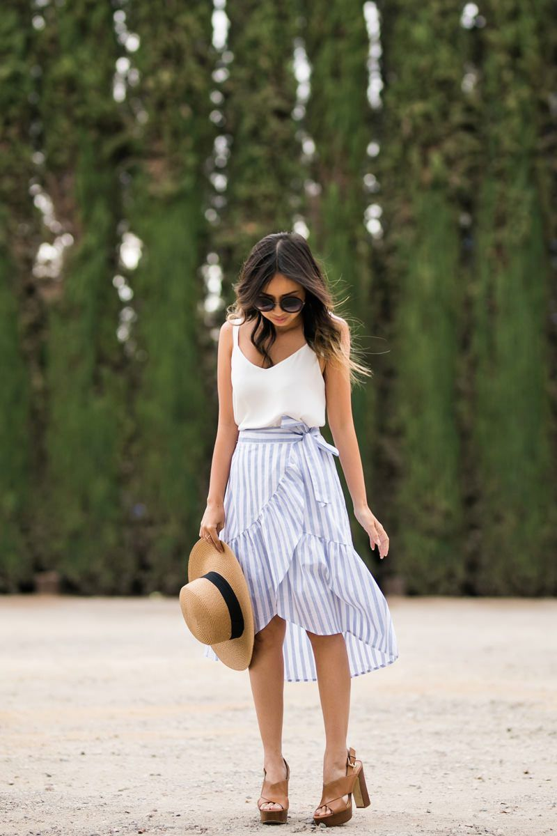 277f886588 lace and locks, petite fashion blogger, oc fashion blogger, cute spring  outfit, ruffle skirt, stripe skirt, summer fashion, morning lavender skirt