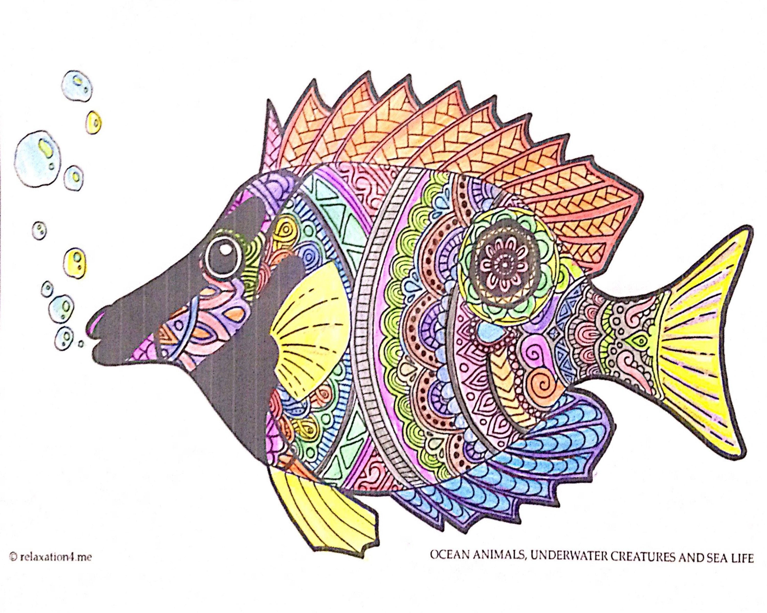 Pin Auf Free Anti Stress Marine Adult Coloring Book Printables Ocean Animals Underwater Creatures And Sea Life Diy Art Therapy