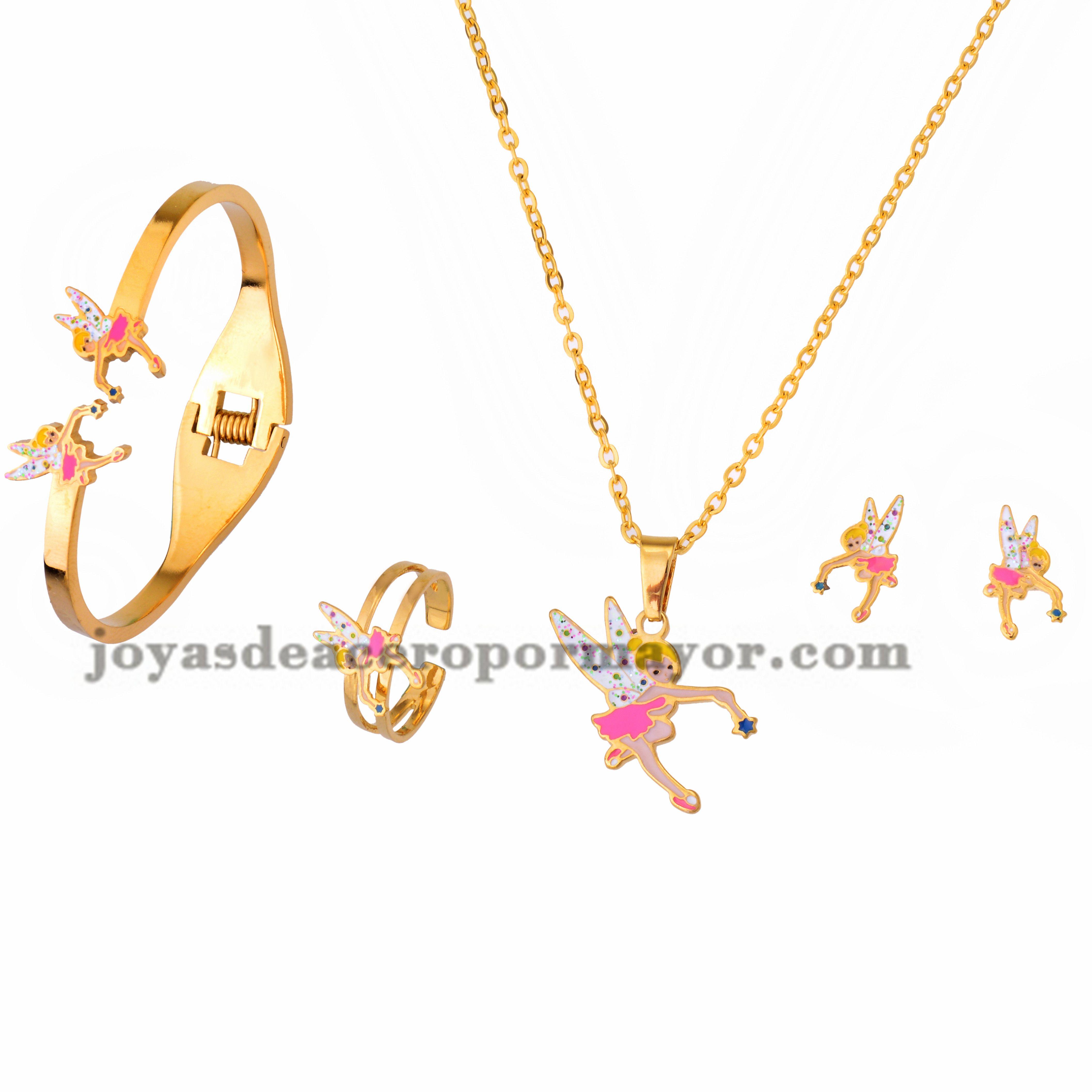 Collar Y Aretes Con Pulsera Y Anillo De Dibujo Animado De Dorado En Jewelry Gold Necklace