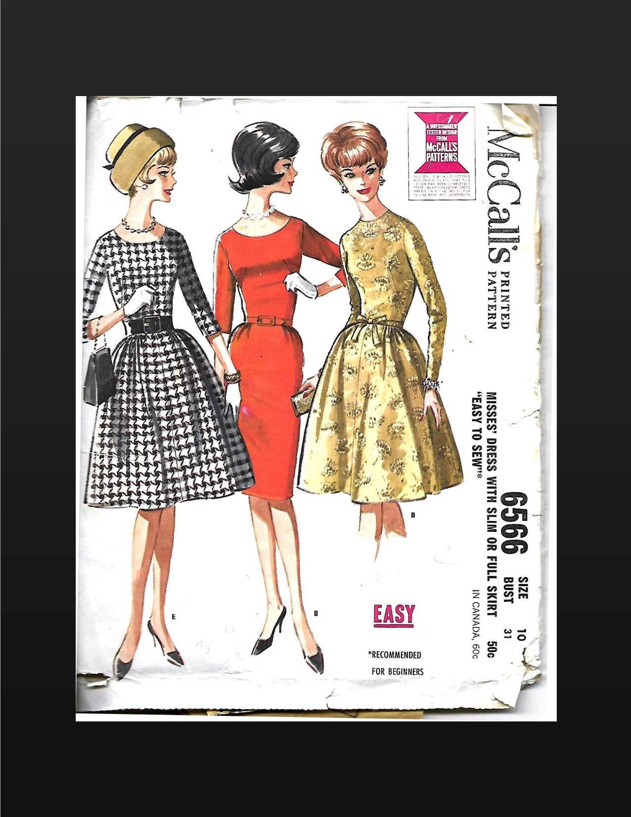 Vintage s mccalls dress pattern misses ladies size bust