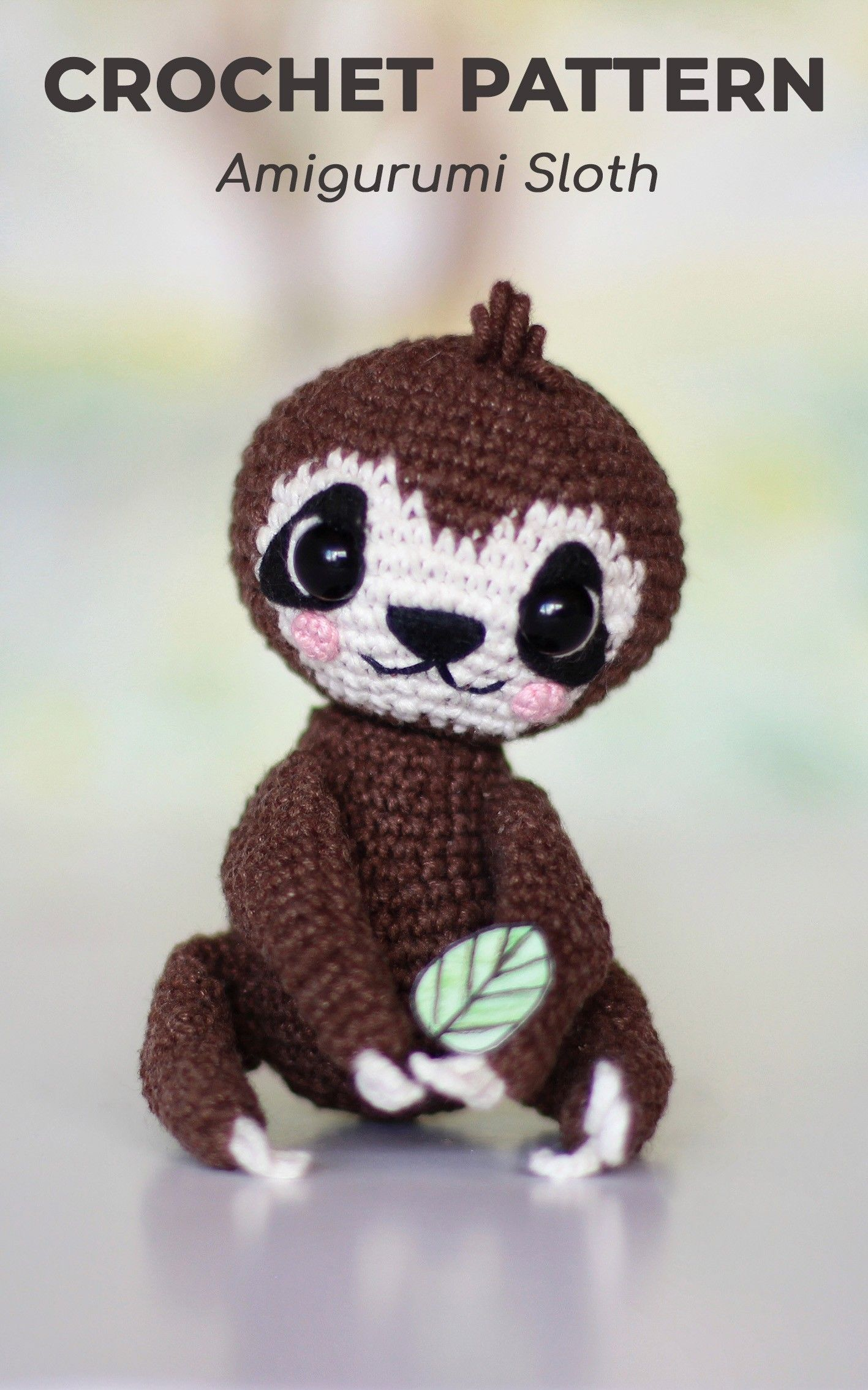 PATTERN crochet SLOTH pdf amigurumi toy how crochet sloth stuffed animal tutorial diy sloth pattern pdf amigurumi jungle baby sloth #babysloth