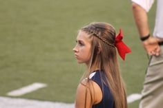 Love This Half Up Half Down For Cheer Cheerleading Hairstyles Cheer Hair Cute Cheer Hairstyles