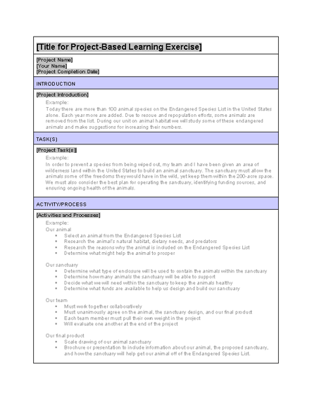 project based learning example exercise templates officecom for rubrics
