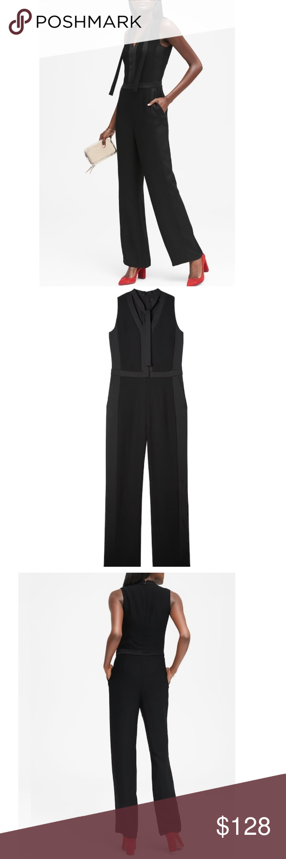 27874b9152c NWT  Banana Republic  Tieneck Tuxedo Jumpsuit Sz0P New with tag Never worn  Size 0 petite in Black Currently sold out in stores and online Banana  Republic ...