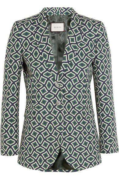 Gucci - Printed Cotton Blazer - Emerald - IT36