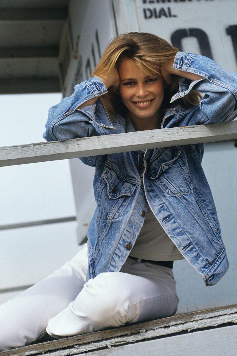 Claudia Schiffer in a denim jacket, 1992