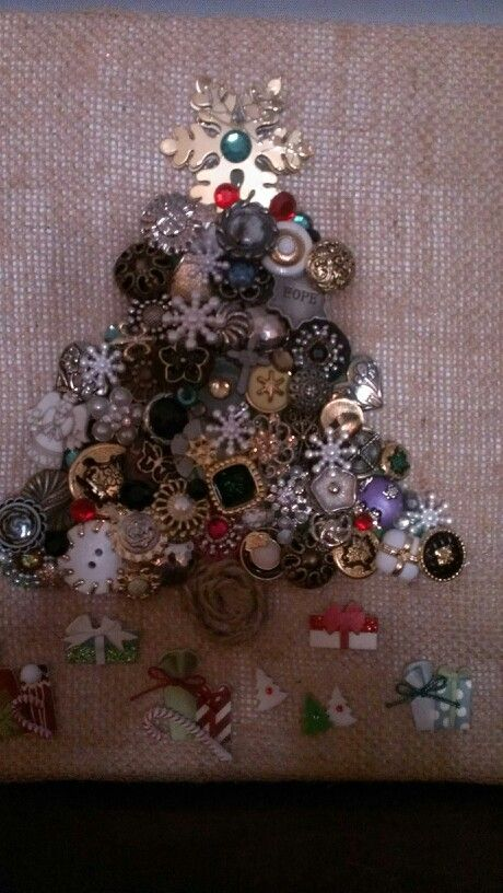 special button christmas tree canvas made for my sister robin evans