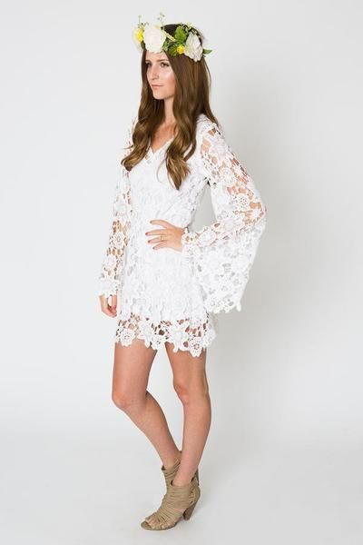 Short Lace Bohemian Wedding Dress With Flared Sleeves Fl Lique