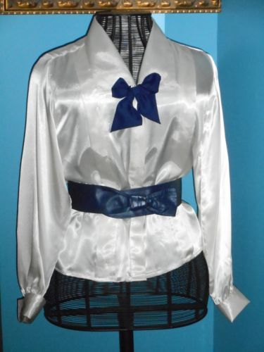 0dc7130691cd2 USA-10-Ivory-White-Glossy-Satin-Blouse-French-Cuff-Navy-Silk-Tie-Long-Sleeve