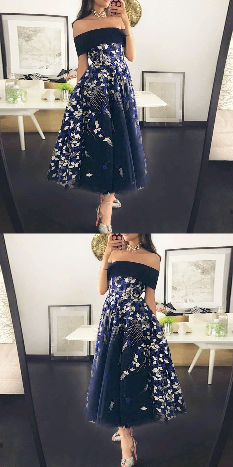 Off the Shoulder Dark Blue TeaLength Prom Dress with Appliques in