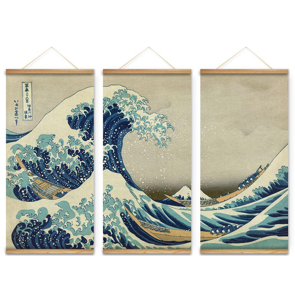 3Pcs Japan Style The great wave off Kanagawa Decoration Wall Art ...
