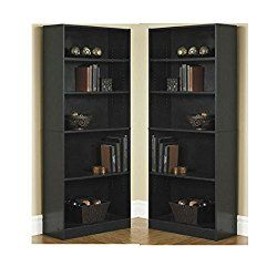 Orion Wide 5 Shelf Bookcase Black (Pack Of 2)