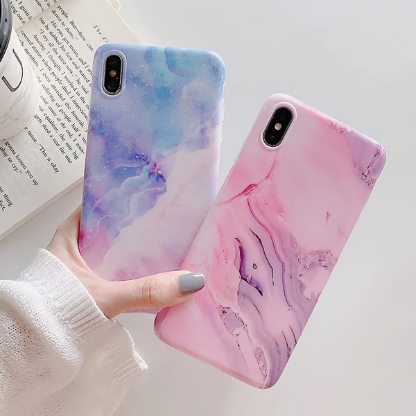 Phone Case For iPhone XR XS Max 6 6S 7 8 Plus X Cute Pink Marble Starry Sky Soft IMD Glossy Back Cover Coque Case Gift