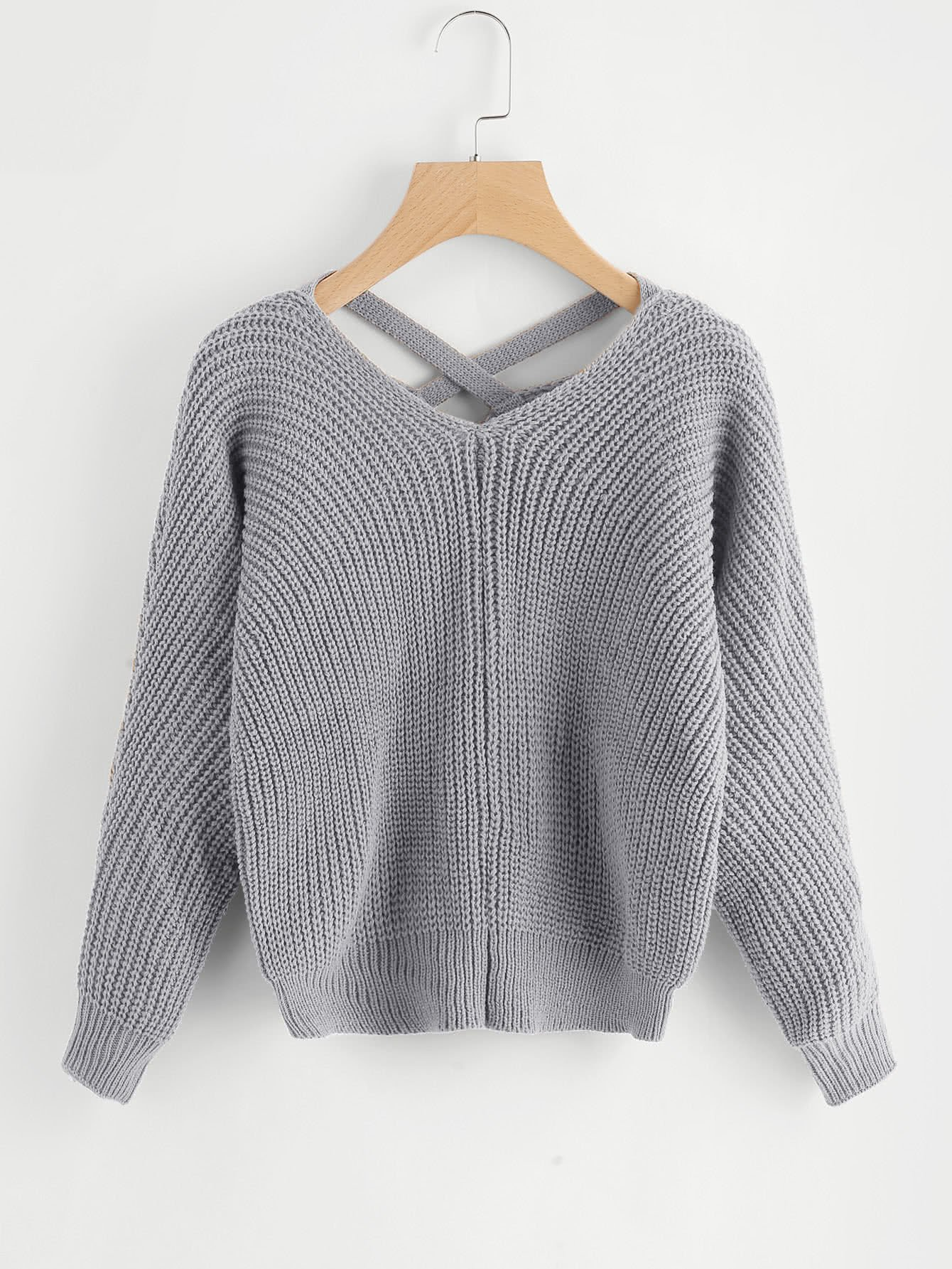 c680afd48d Material  Acrylic Color  Grey Pattern Type  Plain Neckline  V Neck Style   Casual Types  Loose Items  Pullovers Sleeve Length  Long Sleeve Fabric   Fabric is ...