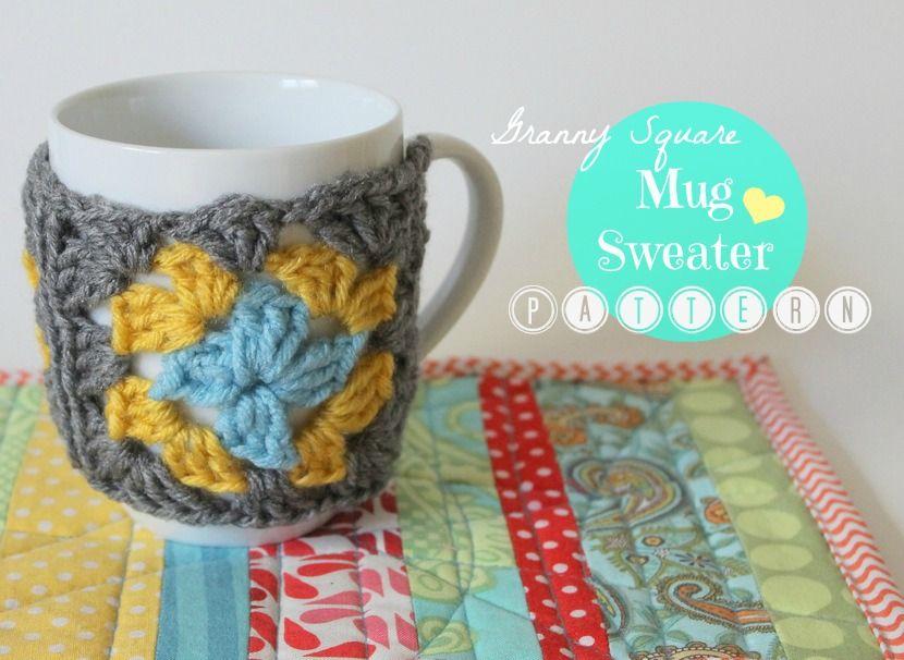 {Crochet Pattern: Granny Square Mug Sweater} | Crochet mug ...
