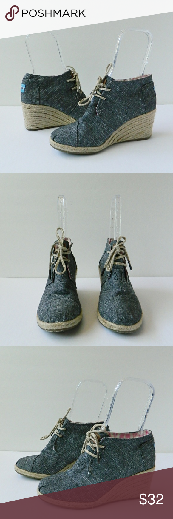 """Toms Dessert Wedge Chambray Lace Up Espadrille 8 In excellent used condition espadrille wedge by Toms.  Looks like a denim fabric with pink ikat pattern inside. Only real wear is on soles.  Measurements: 3"""" heel, 9.5"""" insole. TOMS Shoes Espadrilles"""