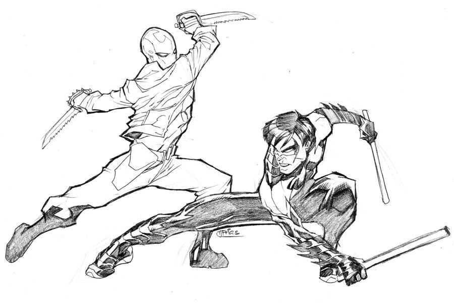 Redhood Vs Nightwing by guinnessyde on DeviantArt Coloring pages - copy dark knight batman coloring pages