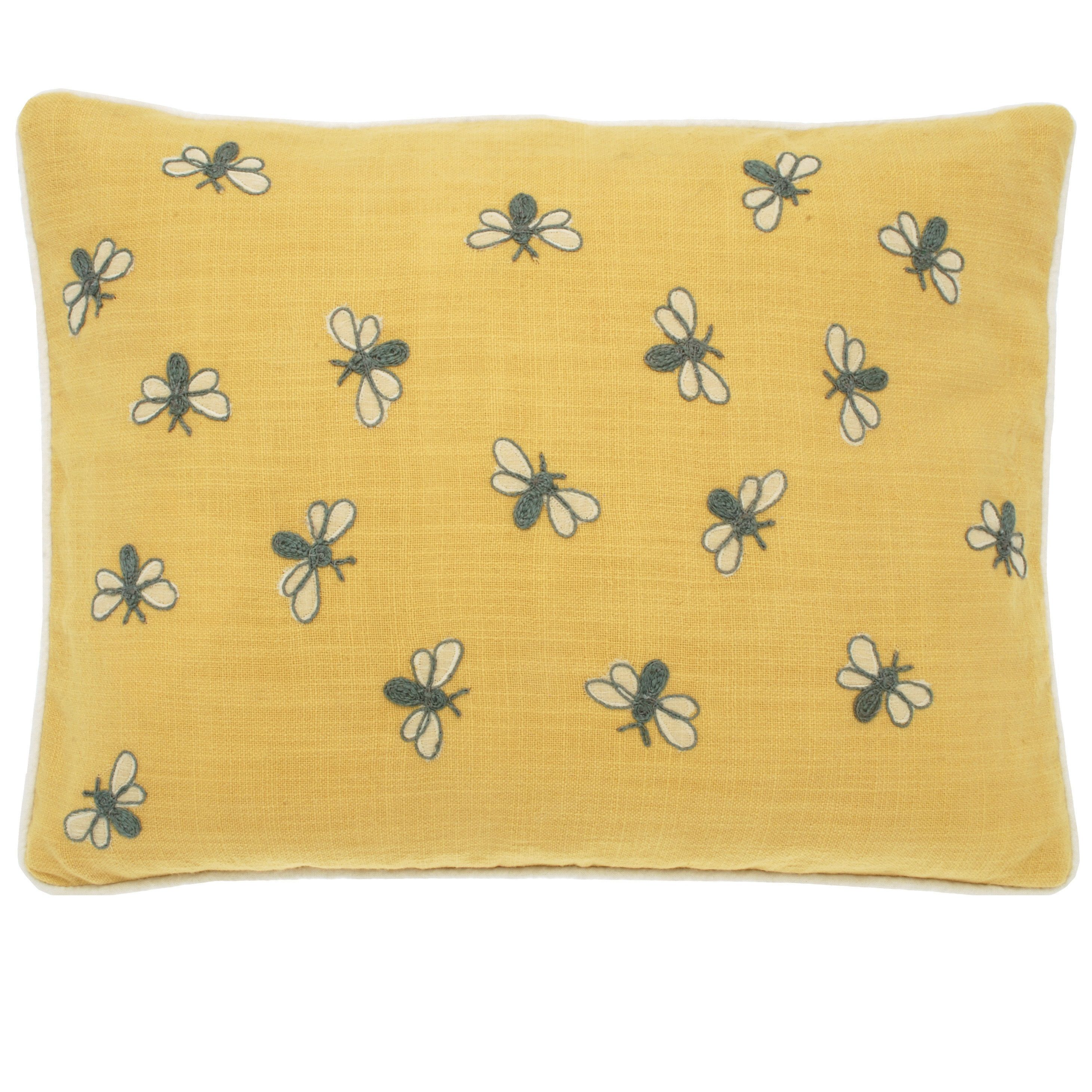 Bubble Bee Cushion with a colourful stitched bee design in fine ...