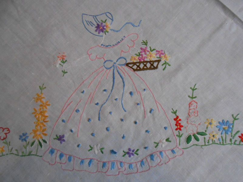 Beautiful vintage linen tablecloth hand embroidered with crinoline ...