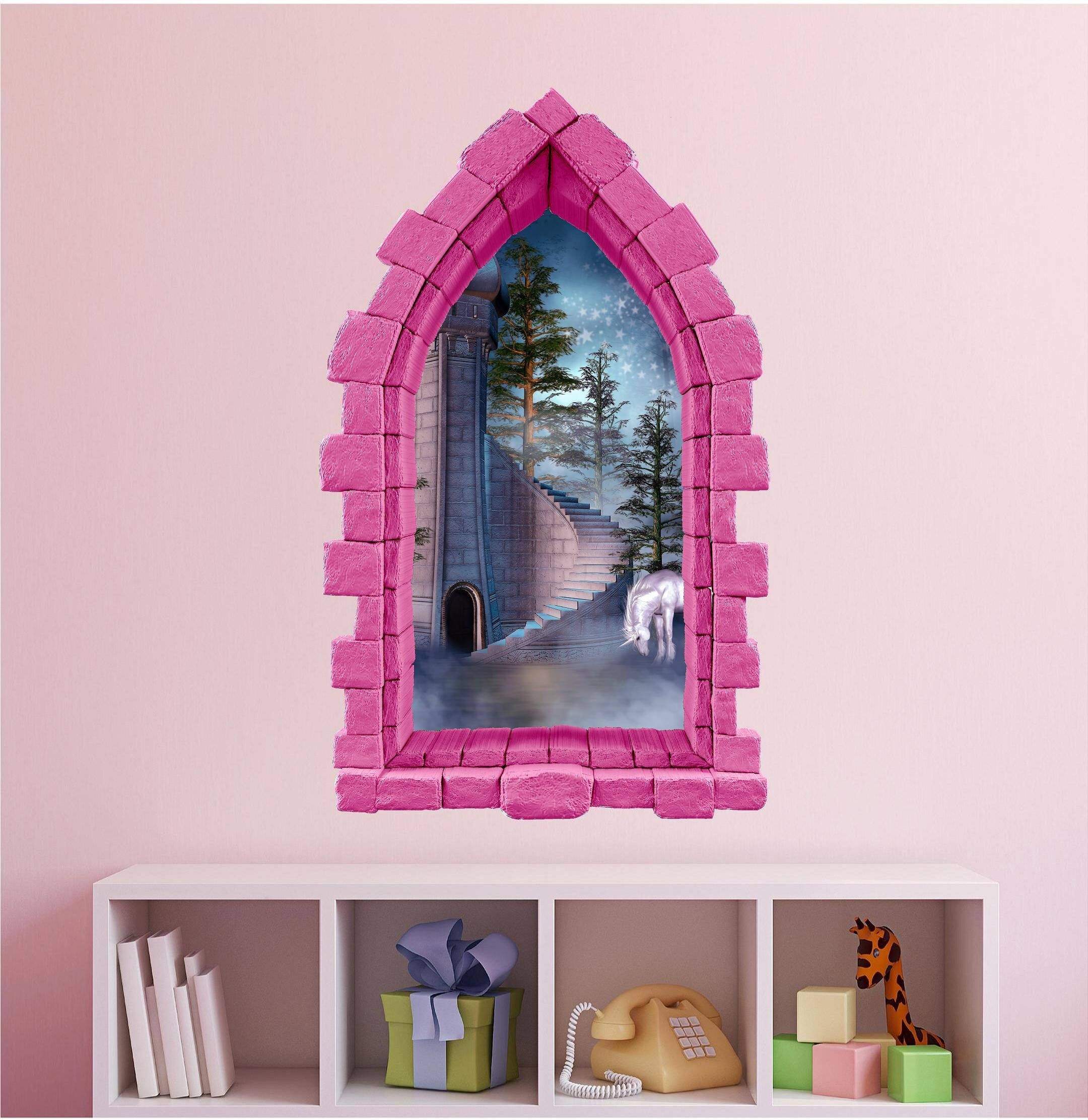 Princess Fantasy Castle Window Wall Decal Fairytale Castle u0026 Unicorn Nursery Decor 3D Window Decals for Girls Kids Wall Decals Pink & Princess Fantasy Castle Window Wall Decal Fairytale Castle ...