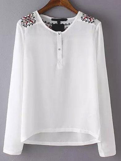5665a1880 Blusa cuello redondo bordado botones-(Sheinside)