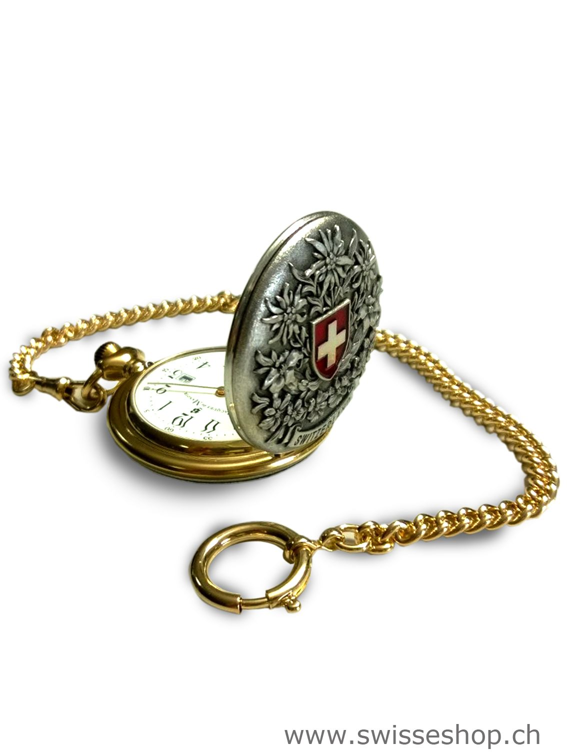 This clock is a Swiss product with a golden chain.
