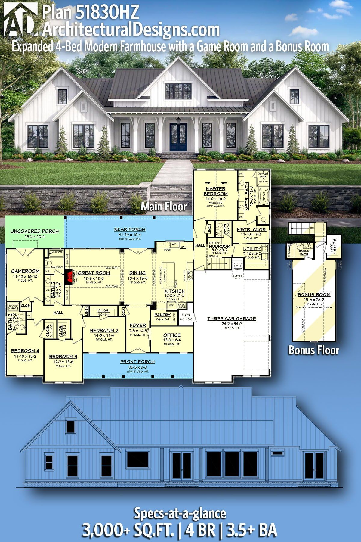 Plan 51830hz Expanded 4 Bed Modern Farmhouse With A Game Room And A Bonus Room House Plans Farmhouse Family House Plans Dream House Plans