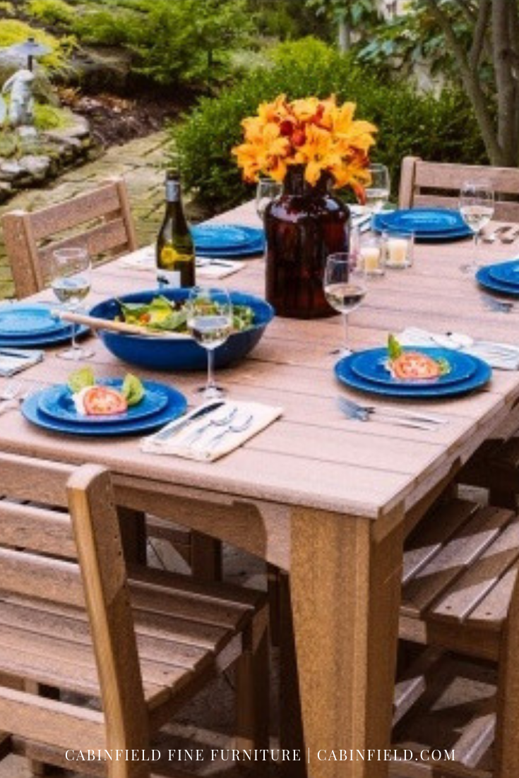 Weather friendly poly furniture is ideal for outdoors this rectangular patio dining set includes an amish dining table and six ladder back side chairs