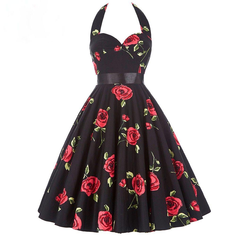 Rose Retro Print Vintage Kleid  Vintage abendkleider