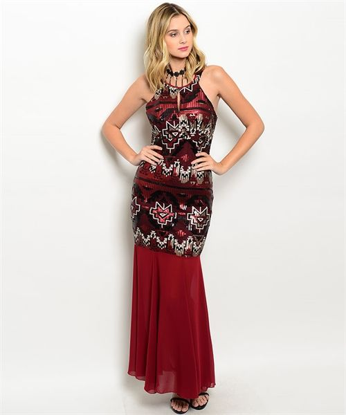 This sequins gown features spaghetti straps, glam sequins tribal print design all over and chiffon mermaid hem.