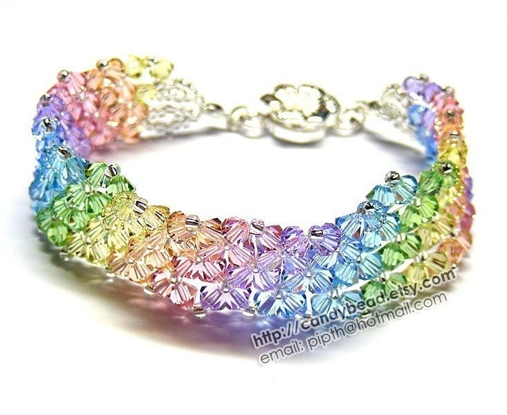 Simply Sweet Rainbow Swarovski Crystal Bracelet with Flower Magnetic Clasp by CandyBead. 20.00, via Etsy.