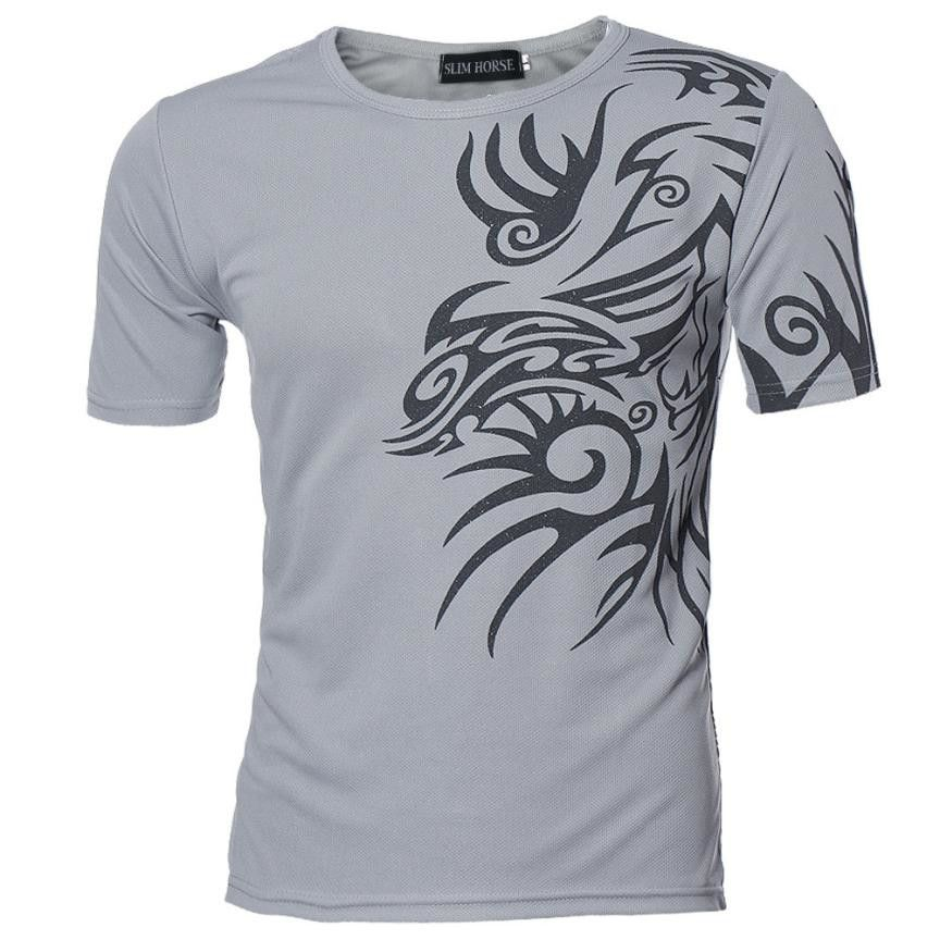 2017 Mode Hommes T-shirt Slim Fit O-cou T-shirt Hommes Court Chemise à manches Casual t-shirt Tee Tops Mens D'impression Shirt M-3XL 42Ja042