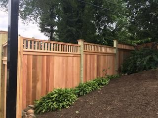 If You Stop At The Pickets 25 Cedar 1x6 Solid Board Fence With 2x2 Topper Stepped House Exterior Fence Privacy Fences