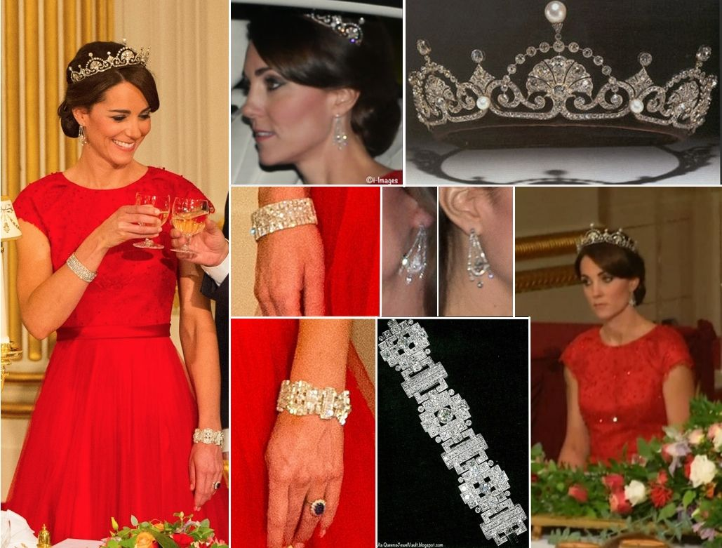 Catherine Duchess Of Cambridge Wore A Red Bespoke Jenny Packham