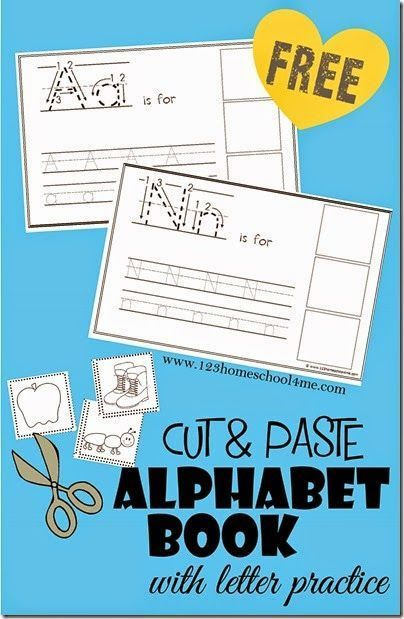 Cut and Paste Alphabet Book with Writing Practice is part of Alphabet preschool, Alphabet book, Lettering practice, Preschool learning, Preschool letters, Alphabet - Kids are going to love making this FREE Cut and Paste Alphabet Book  Color, trace letters, and sound out words to make your own ABC book