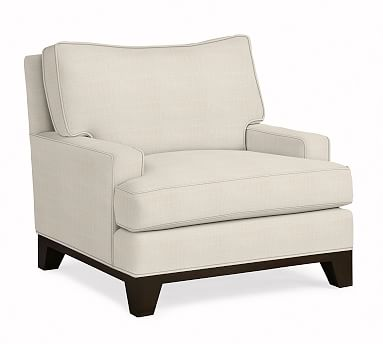 Seabury Upholstered Armchair, Down Blend Wrapped Cushions, Sunbrella(R) Performance Sahara Weave Ivory