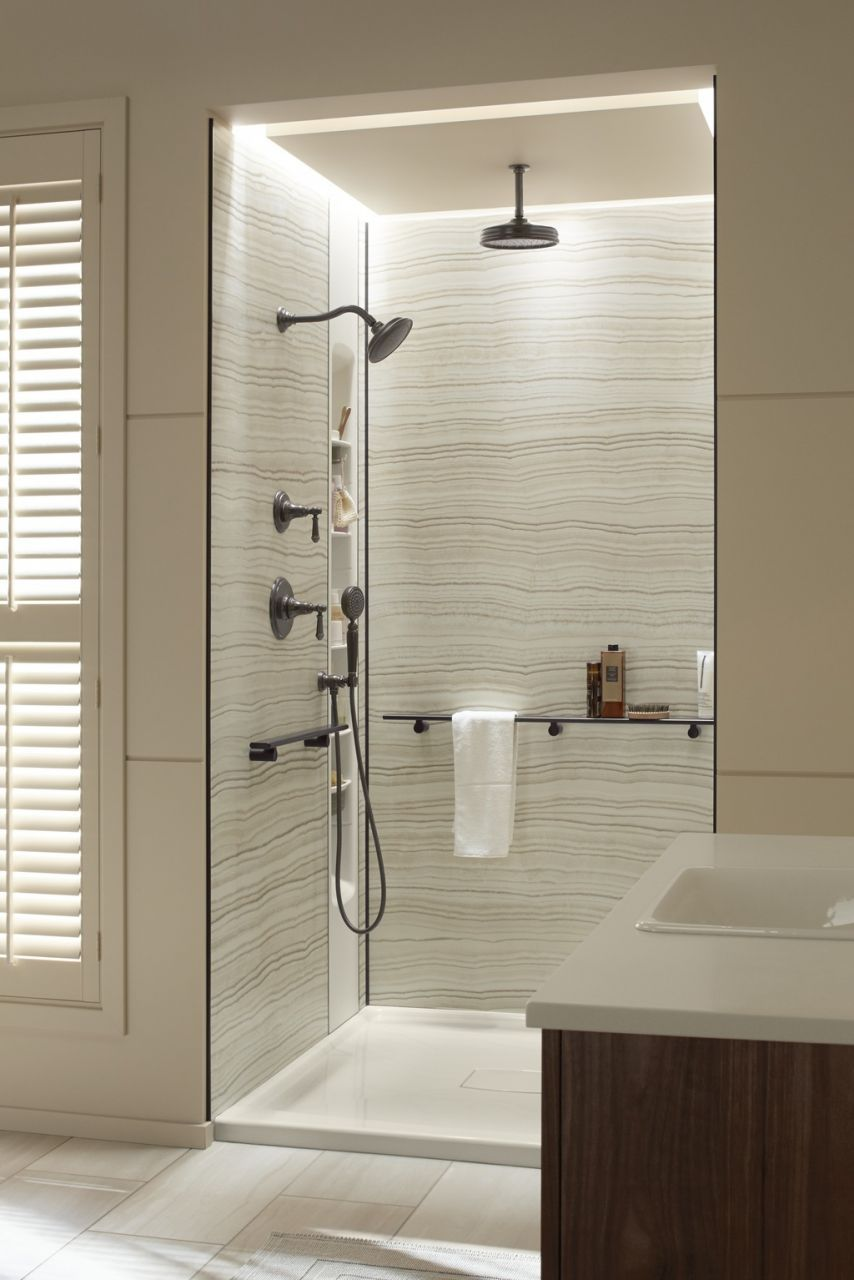 Exceptionnel Strategy 1   Grout Free Shower Wall Panels Image 2 Veincut Biscuit 48 X 36  X 96