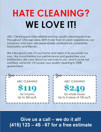 We-love-cleaning-with-coupons | House Cleaning Ads | Cleaning flyers