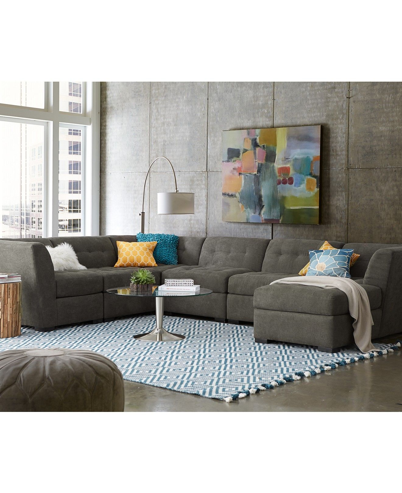 Best Roxanne Fabric 6 Piece Modular Sectional Sofa 2 Corner 640 x 480