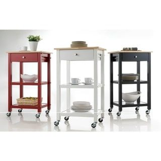 Red Wood Kitchen Cart on Wheels. A bit narrow at 19 in width and 15