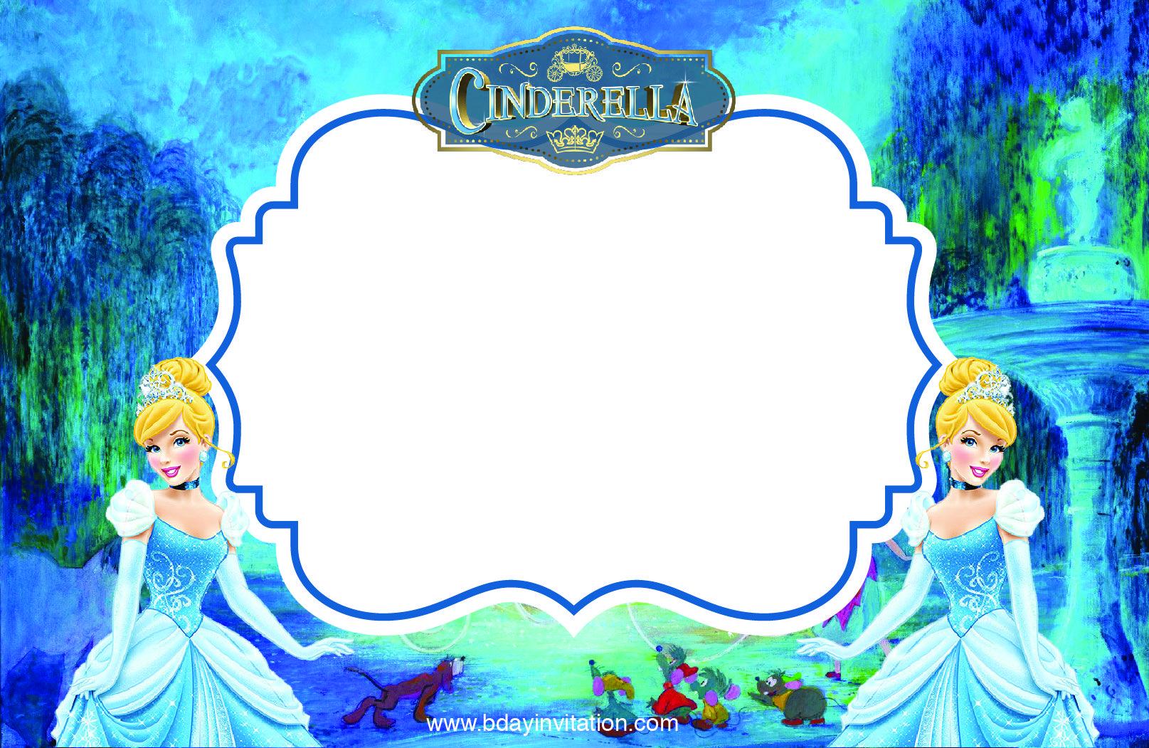 Download FREE Printable Disney Cinderella Party Invitation Template