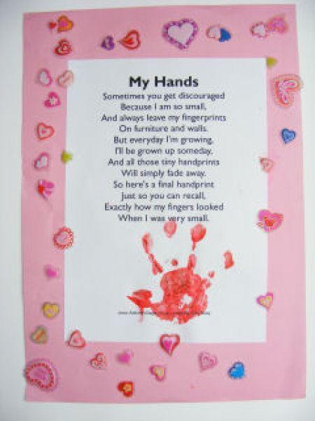Fingerprint poems from kids for mothers day handprint poem for Mothers day craft ideas kids