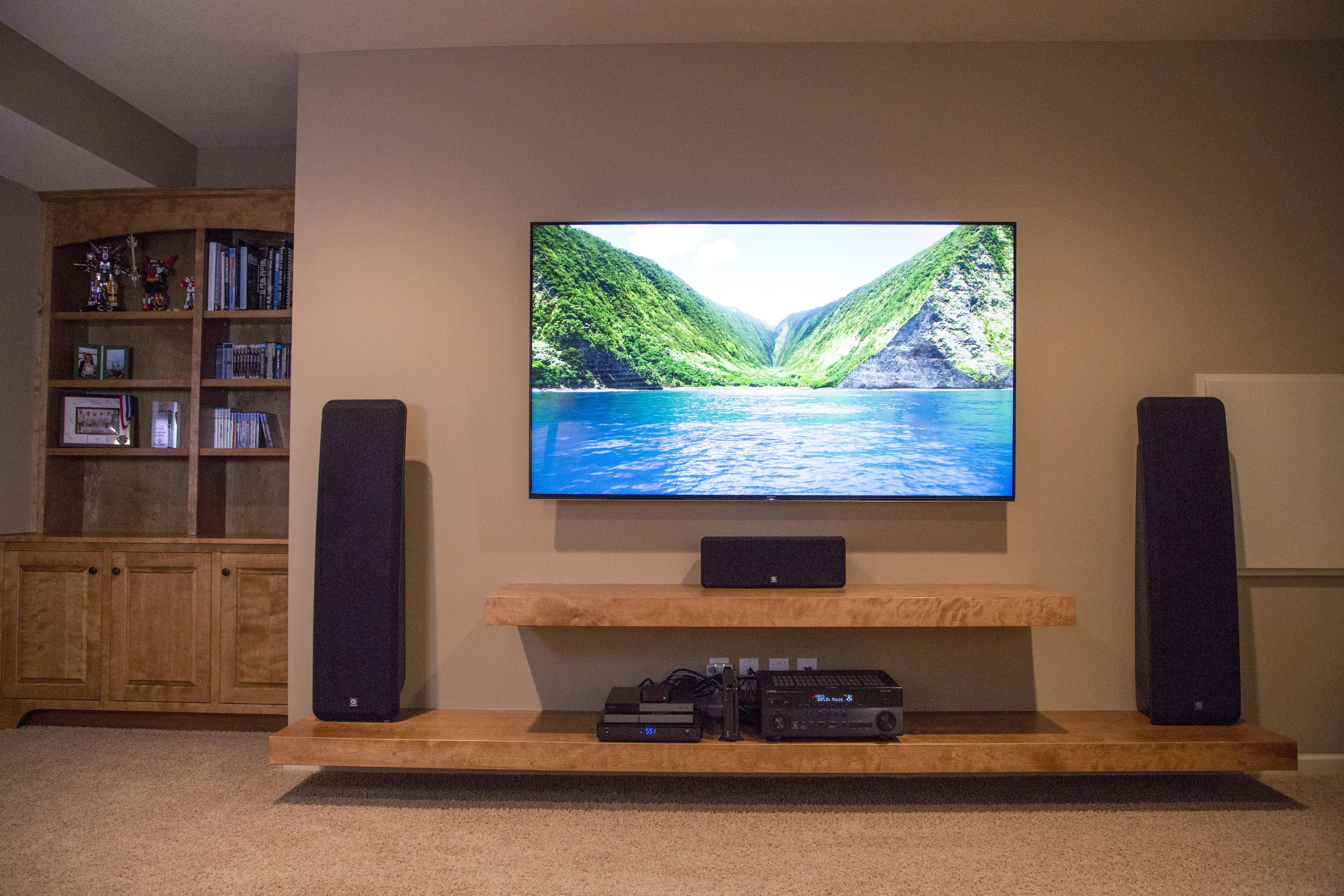 Floating shelves entertainment center