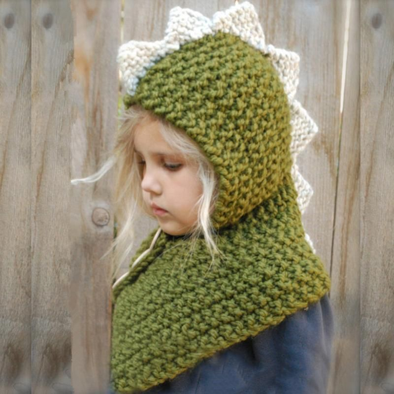 Baby Kids Winter Hat Knitted Dinosaur Pattern Warm Hat Velvet Head Cap Earmuff